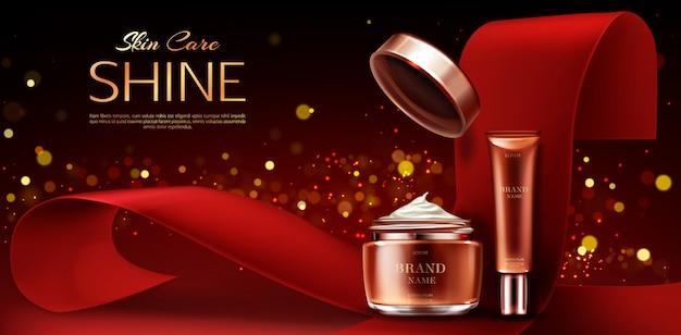Frascos de cosméticos que anunciam, linha de beleza para cuidados com a pele