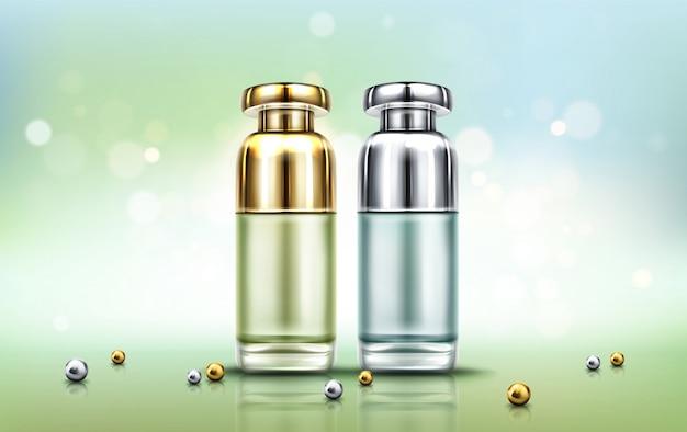 Frascos de cosméticos, tubos de cosméticos para cuidados com a pele