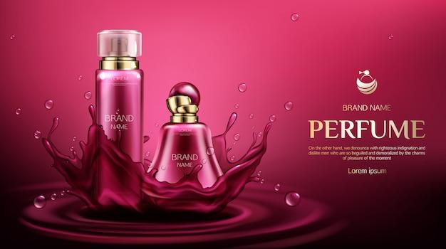 Frascos de desodorizante de perfume na água espirram com gotas.