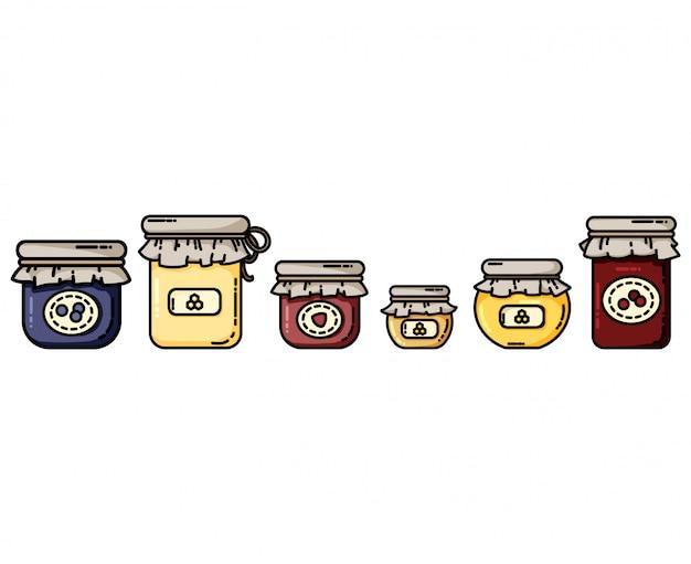 Frascos de ícones planas com compotas e mel
