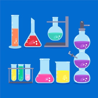 Frascos de laboratório de ciências com produtos químicos