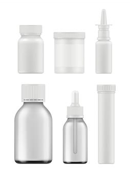 Frascos de medicamento. pacotes farmacêuticos realistas complementam modelo em branco de vetor de caixa