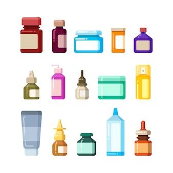 Frascos de medicamento para drogas, pílulas e vitaminas ícones plana