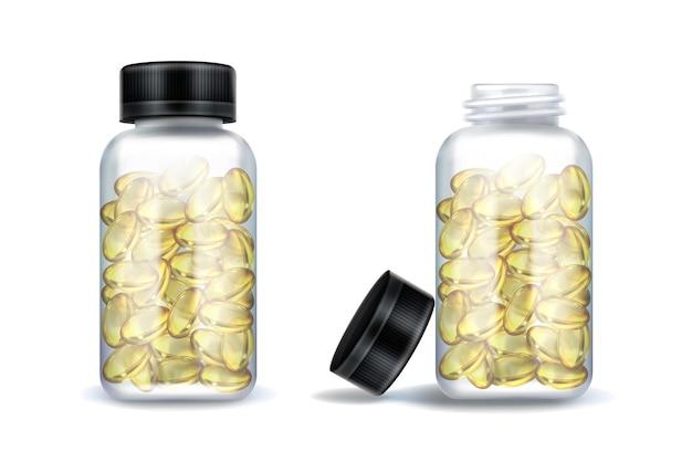 Frascos de medicamentos com cápsulas amarelas transparentes isoladas em branco
