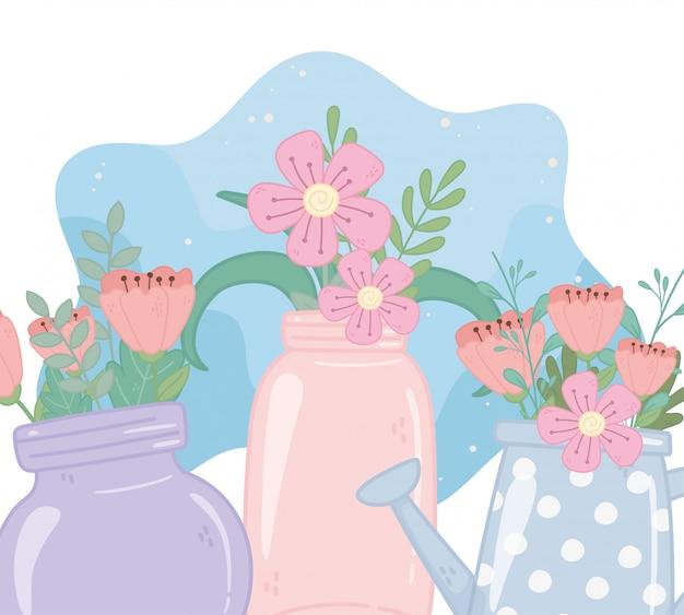 Frascos de pedreiro e regador com decoração de natureza folhagem flores