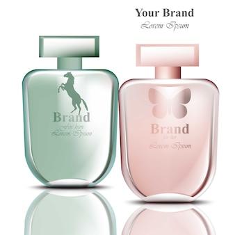 Frascos de perfume ajustados para homens e mulheres. desenhos de embalagens de produtos realistas