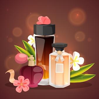 Frascos de perfume com ilustração em vetor aroma flor.