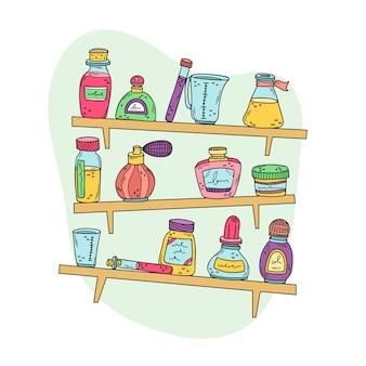 Frascos de perfume, copos e óleos essenciais na prateleira