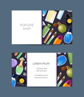 Frascos de perfume de vetor cartão de visita para ilustração de loja de fragrâncias
