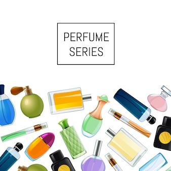 Frascos de perfume de vetor fundo ilustração