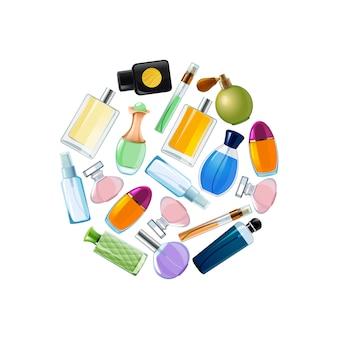 Frascos de perfume de vetor na ilustração de forma de círculo