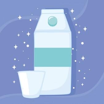 Frascos de plástico ou de vidro, leite tetrapack e ilustração vetorial de copo