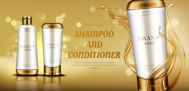 Frascos de produtos de beleza cosméticos banner de publicidade