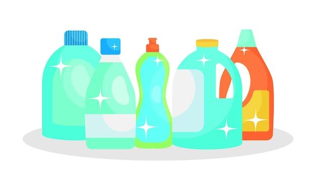 Frascos de produtos de limpeza.