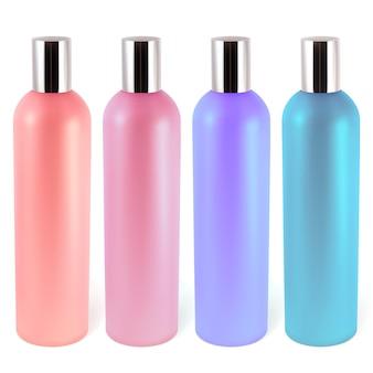 Frascos de shampoo ou loção. ilustração contém malha de gradiente.