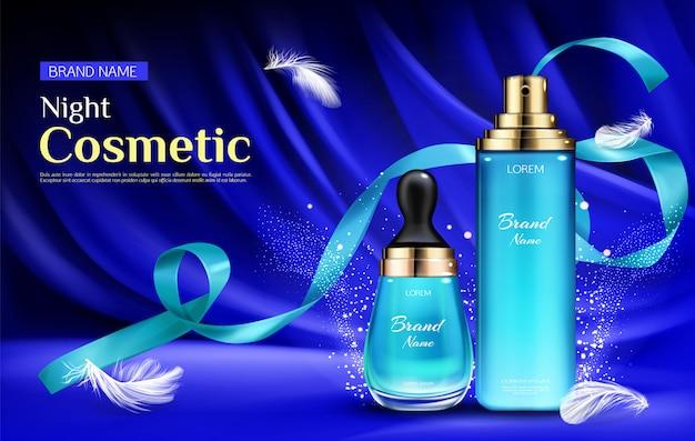 Frascos de soro de beleza cosmética noite com gotículas e bomba