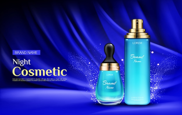 Frascos de soro de beleza cosmética noite com pipeta e bomba