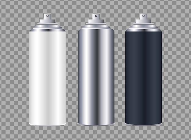 Frascos de spray com ícones isolados
