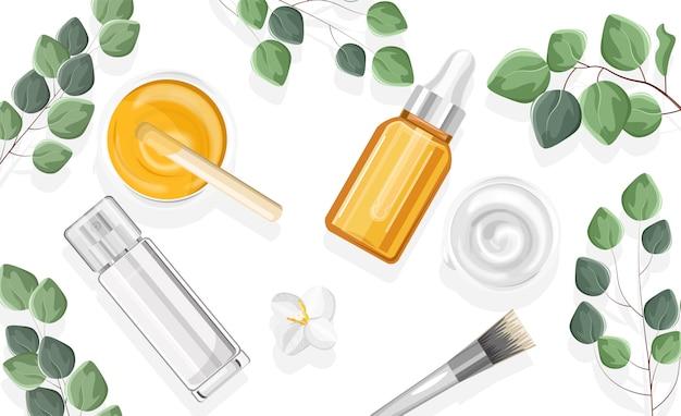 Frascos de spray de produtos cosméticos naturais