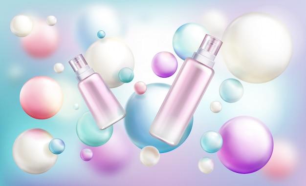 Frascos de tamanhos diferentes de cosméticos de beleza