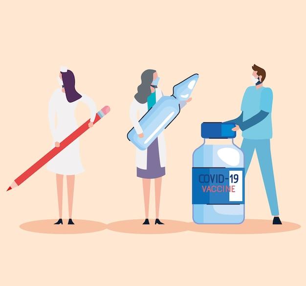 Frascos de vacina e equipe médica com ilustração a lápis