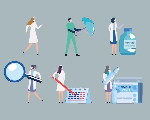 Frascos de vacina e equipe médica com ilustração de conjunto de ícones