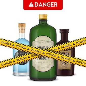 Frascos de veneno realistas e fita de cordão com ilustração em vetor perigo texto