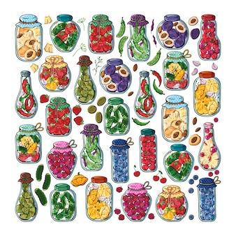 Frascos de vetor de conservas de legumes e frutas.