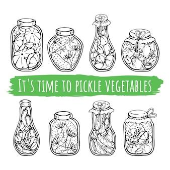 Frascos de vetor de conservas de legumes.