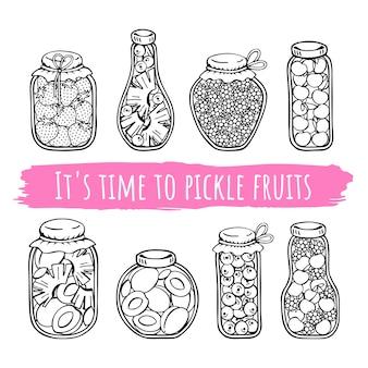 Frascos de vetor de frutas em conserva.