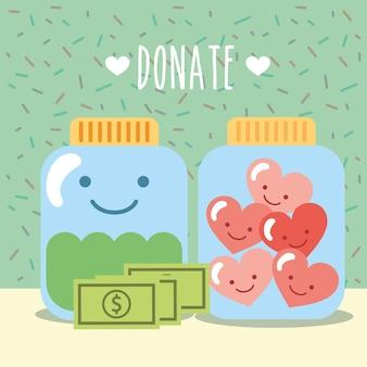 Frascos de vidro com corações e dinheiro doam caridade
