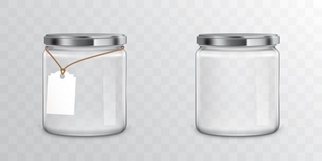 Frascos de vidro com etiquetas e etiqueta de metal