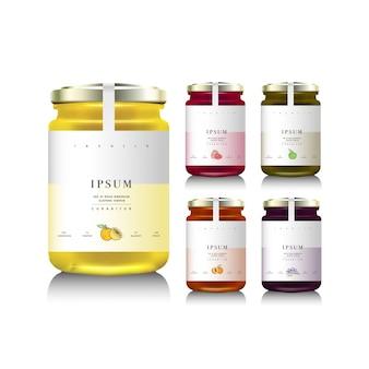 Frascos de vidro com geléia, configuração ou mel. ilustração. coleta de embalagens. etiqueta para geleia. banco realista.