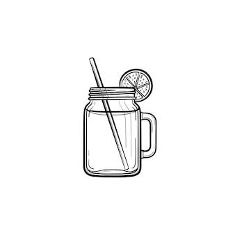 Frascos de vidro de ícone de doodle de contorno desenhado de coquetel de desintoxicação fresco. bebida refrescante de smoothie com fatia de limão e ilustração de desenho vetorial canudo para impressão, web, mobile e infográficos.