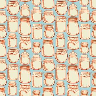 Frascos de vidro desenhados à mão sem costura com conteúdo colorido