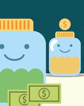 Frascos de vidro moedas notas de dinheiro caridade imagem