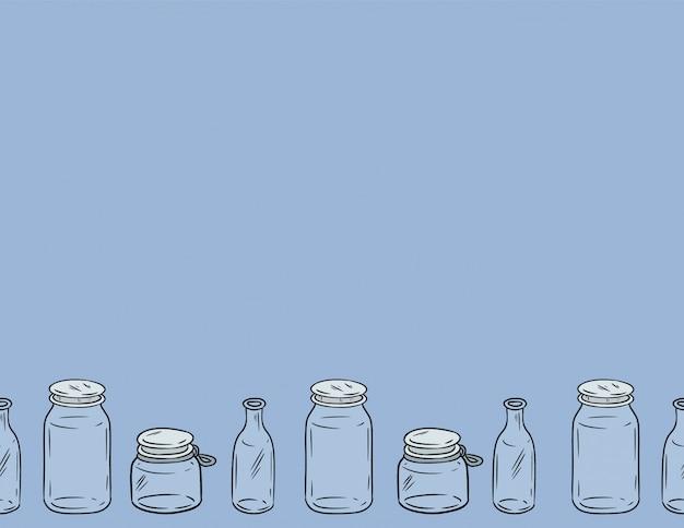 Frascos de vidro padrão sem emenda.