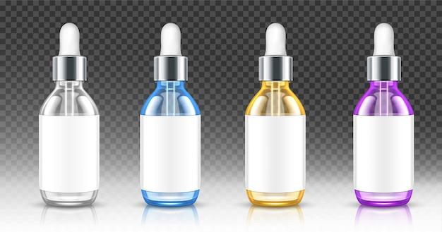 Frascos de vidro realistas com conta-gotas para soro ou óleo.