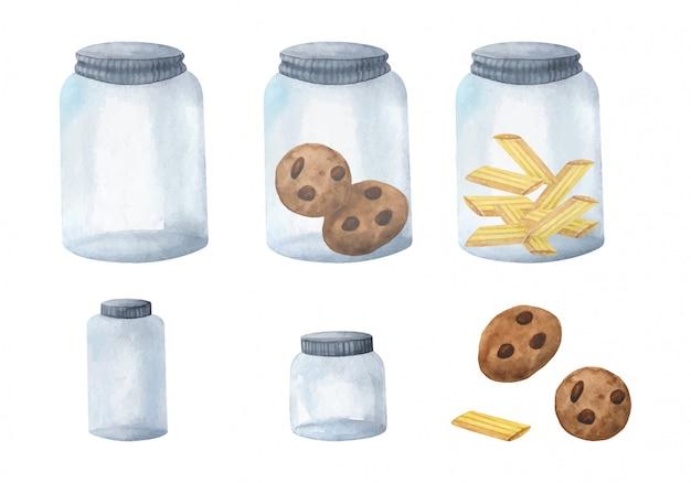 Frascos de vidro reutilizáveis para armazenar produtos a granel, cheios e vazios.