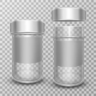 Frascos de vidro vazio realista com tampas de metal prata