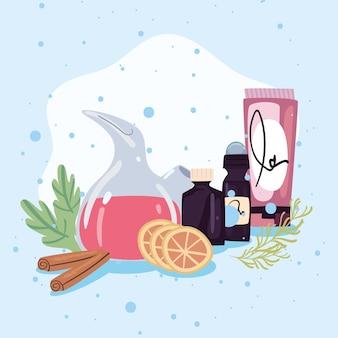 Frascos e produtos de spa