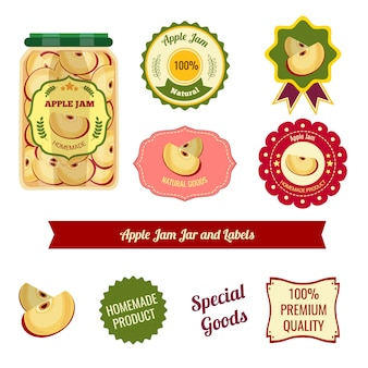 Frascos e rótulos de compota de maçã