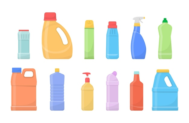 Frascos limpos de produtos químicos. produtos de limpeza, recipientes plásticos para detergentes.