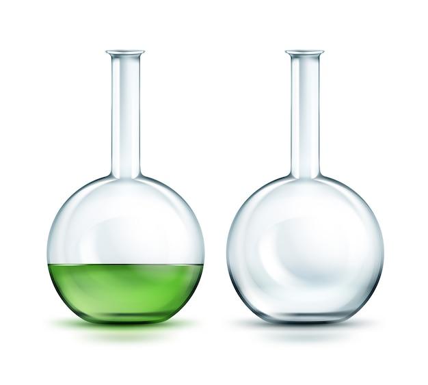 Frascos líquidos verdes transparentes vazios e cheios isolados no fundo