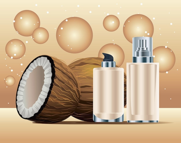 Frascos para cuidados com a pele em produtos de cor creme com ilustração de cocos
