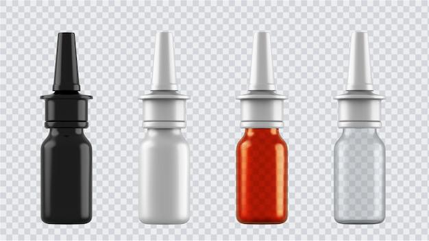 Frascos realistas para drogas, comprimidos, gotas e spray etc. recipientes médicos em branco de plástico isolados