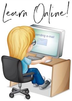 Frase aprender online com garota trabalhando no computador
