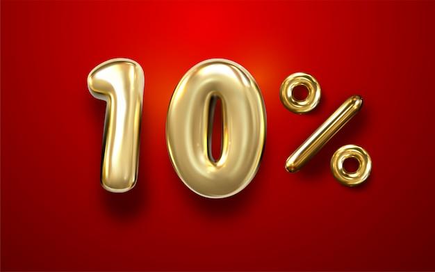 Frase de 10% de balão de ouro 3d em fundo vermelho