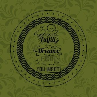 Frase de atitude sobre sonhos dentro do ícone de quadro. motivação de inspiração e tema positivo. ornamenta