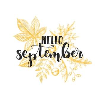 Frase de caligrafia de letras de outono - olá, setembro